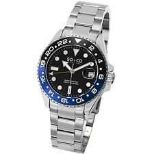 SO & CO Men's 5021.3 Yacht Club Casual Quartz Watch Stainless Black Blue Date