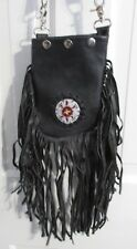 BLACK Leather Biker Motorcycle Hobo CROSSBODY Bag Leather Fringe Hand BEADED