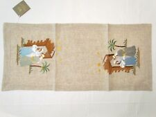 """NEW FIRST CHRISTMAS NATIVITY HOLY FAMILY EMBROIDERED TABLE RUNNER 36"""" NWT"""
