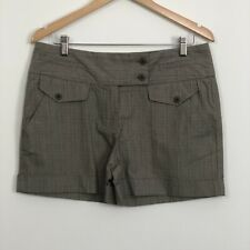 WITCHERY Womens Grey Fine Check Folded Cuff Mid Rise Cotton Shorts Size 12 NWT