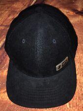 Official NFL CBS Metal Tag Hat Black Corduroy Flatbill Adjustable Leather Strap
