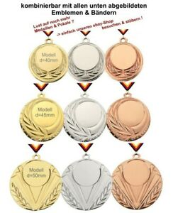 25 Medaillen (Farbzusammenstellung nach Wunsch) mit Emblem, Band, Text
