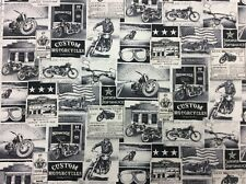 NT67 Motorcycle Bike Newsprint Vintage Style Advertising Cotton Quilt Fabric