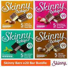 20 Skinny Whip Bars Mint Toffee Strawberry Double Chocolate 25g 99 Calories Bar