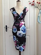 Lipsy London Womens Crossover Belted Bodycon Dress Black/Blue Mix Size 8 BNWT