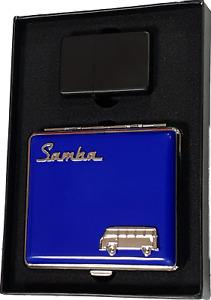 Benzinfeuerzeug schwarz matt + VW Samba Bulli Zigarettenetui blau + Geschenkset