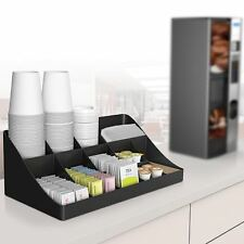Break Room Coffee Tea Holder Condiment Organizer Box Sugar Cup Storage Rack Tray
