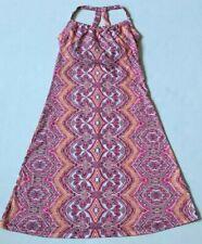 prAna QUINN DRESS SHELF BRA ATHLETIC KEYHOLE FLORAL PAISLEY ORANGE PINK SIZE XS