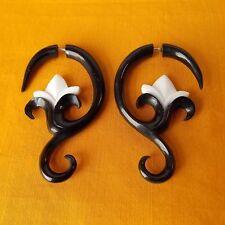 Lotus Black and White Split Gauge Earring Gift for Yogi Fake Plug Gothic Jewelry