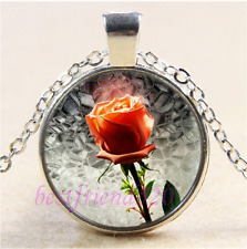 Beauty and the Beast Rose Cabochon Glass Tibet Silver Pendant Necklace#D45
