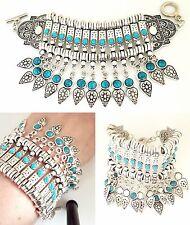 Declaración pulsera señoras de plata tono turquesa pulsera de moda con cuentas 7in
