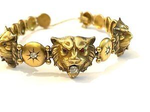 "Victorian English GOLD LION HEADS (8"") Bracelet Mine Cut DIAMONDS RUBY Rare"