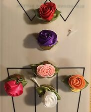 """Ribbon Rose Button Covers 6 Colors Red Dark & Light Pink Purple White Peach 5/8"""""""