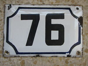 Genuine vintage ISRAELI enamel porcelain number 76 house  sign # 76