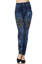 Premium Knit Washed Denim Leopard Multi Print Ankle Leggings/Jeggins One Size