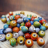 100pcs Vintage Gemstone Round Porcelain Loose Beads Jewelry Making