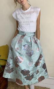 Beautiful Coast MIDI Prom Skirt Aqua Blue Rose Gold Floral Uk 8 Princess