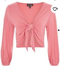 Topshop Tall Top Size 14 Pink Tie Front Sleeved  Cropped Top