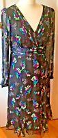 Monsoon Silk Tea Dress Black floral Purples green medium Midi Long Sleeve 12