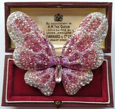Stunning Diamante CRYSTAL Vintage Style Pink BUTTERFLY Statement Brooch