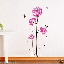 Pink Dandelion Flowers & Butterfly Removable Wall Sticker Kids Girls Living Room