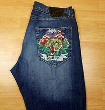 Ed Hardy Men's Distressed Denim Jeans Tiger Alive and Aware Size 40x34