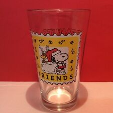 Peanuts Friends Glass Santa Snoopy Clear Pint Drinking Glass
