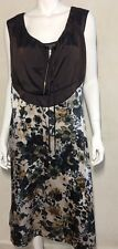 New! FOUND BY Australia brown floral silk blend dress ~ Sz.14
