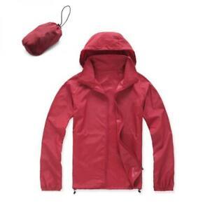 Unisex Waterproof Windproof Jacket Bicycle Running Outdoor Sports Rain Coat Red