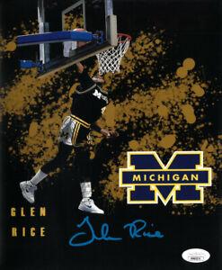Glen Rice signed Michigan Wolverines 8x10 Photo - JSA (National Champs)