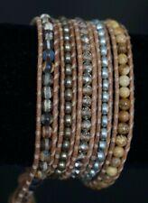 NEW Chan Luu Crystal Pearl Matte Jasper Semi Precious Stone 5 Wrap Bracelet