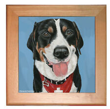 "Greater Swiss Mountain Dog Kitchen Ceramic Trivet Framed in Pine 8"" x 8"""