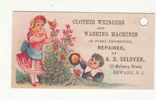 A D Selover Newark NJ Clothes Wringers Washing Machines Mulberry St Card c1880s
