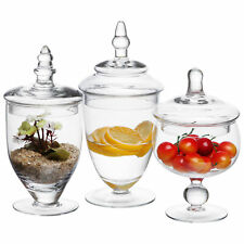 3 Piece Clear Glass Apothecary Decorative Jars Centerpiece Candy Vase Storage