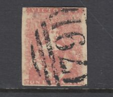 Victoria Sc 1 used. 1850 1p dull red Victoria, Type Ii, 4 margins, tiny thin.