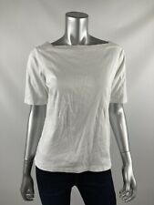 L.L.Bean Womens Knit Top M White Stretch Boat Neck Short Sleeve