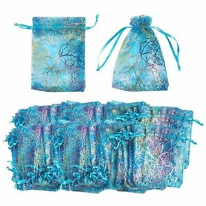 120 Blue Organza Wedding Party Favor Gift Bags Candy Sheer Bag Jewelry Pouches