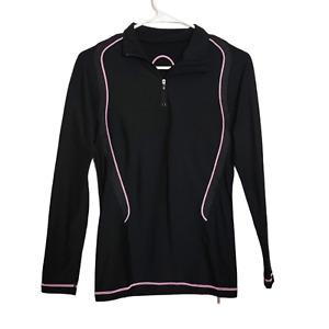CW-X Compression Black Long Sleeve Shirt 1/4 Zip Pink Stitching Womens Sz Medium