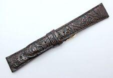 20mm Dark Brown Western Print Genuine Leather Watch Strap Band MADE IN USA 3641