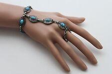 Fun Women Antique Silver Bracelet Vintage Metal Ethnic Turquoise Blue Charm Ring