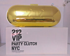 212 VIP Carolina Herrera Party Clutch NYC Gold Metal Luxury