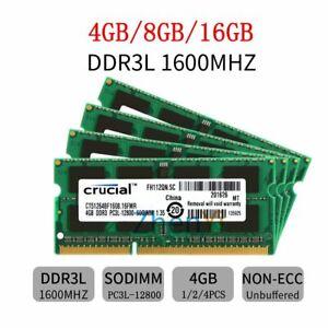 16GB 8GB 4GB DDR3L 1600MHz PC3L-12800 204Pin SODIMM Laptop Memory Crucial BT LOT