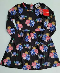 Hanna Andersson 120 6-7 NWT Black Floral A-line Dress RM1-771