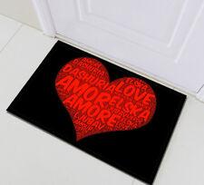 Home Memory Foam Bath Mat Soft Bedroom Floor Rug Kitchen Carpet Red Heart Love