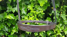 """Jerome Noseband 1"""" Havana brown COB size 100% English Leather made in Walsall"""