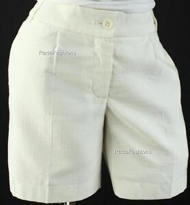 Victoria's Secret Pleated Medium Length Dress Shorts Textured Stripe Ivory Sz 6