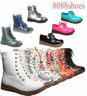 Women's Fashion Low Heel Mid Calf Round Toe Lace Up Combat Boot Shoe Multi color
