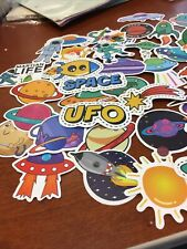 Outer Space 50 Pcs Sticker Alien Astronaut Rocket Ship Planet Decal