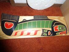 "Northwest Coast Salish-Squamish Hand Carved Cedar ""Salmon"" Carving-Plaque."