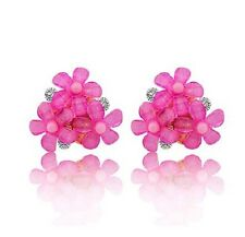 VINTAGE STYLE PINK DAISY FLOWER CRYSTAL CLUSTER STUD EARRINGS